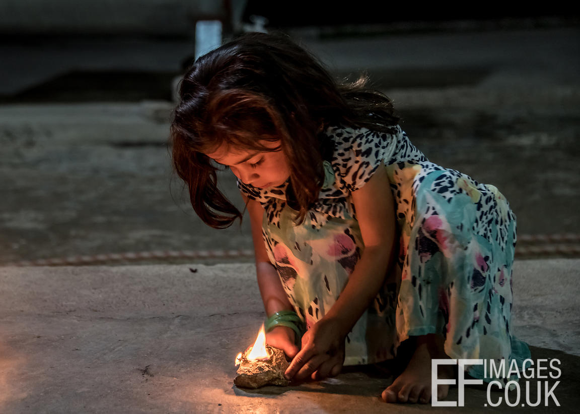 A Little Girl With her Sere Sal, Or Yazidi New Year Oil Lamp In Lalish, Iraqi Kurdistan. 18th April 2017
