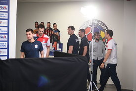The players of Meshkov Brest during the Final Tournament - Media Meeting - Final Four - SEHA - Gazprom league, Skopje, 14.04....