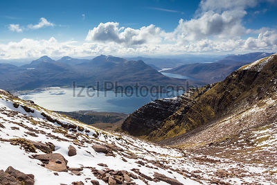Looking out from the top of Coire nan Laogh on Ben Alligin, the summit of Sgurr na Bana Mhoraire, Loch Torridon and Loch Damh...