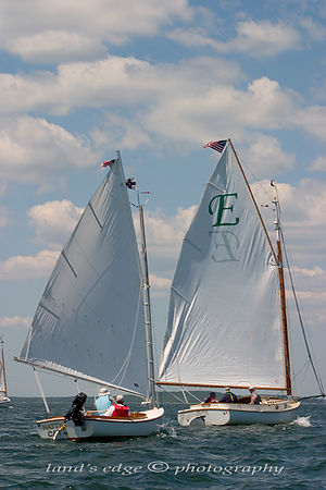 Natty Cat, a Marshall Sandpiper, trails Elsie, a Marshall 22 closely on the long reach to Mashnee Island off Bourne.  the two...