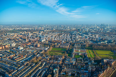 Aerial view of London,  Chelsea, Chelsea Flower Show site towards Belgravia.