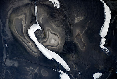 Aerial view of mountain landscape, Landmannalaugar, Iceland, June 2014.