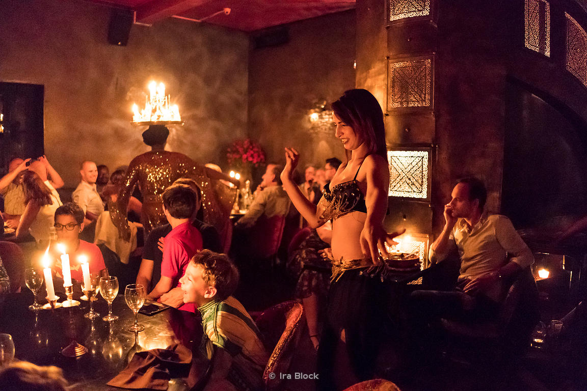 Belly dancing show at the restaurant Comptoir Darna in Marrakesh, Morocco
