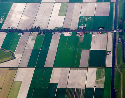 Aerial view of Patchwork landscape of field, The Netherlands, May 2012.