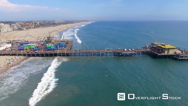 Santa Monica Pier and Ocean Front Beach Drone Video California USA