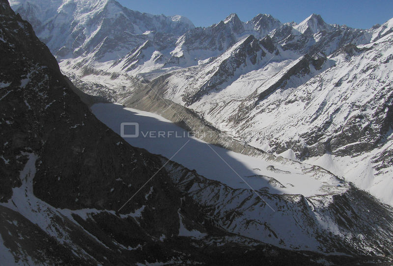NEPAL Trakarding Glacier -- 16 Apr 2005 -- An aerial view of Tsho Rolpa, a glacial lake high up on the Trakarding Glacier.