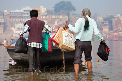 Getting around by boat on the Ganges River, Varanasi, India.