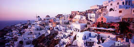 View of the village of Oia during sunset, Santorini, Greece