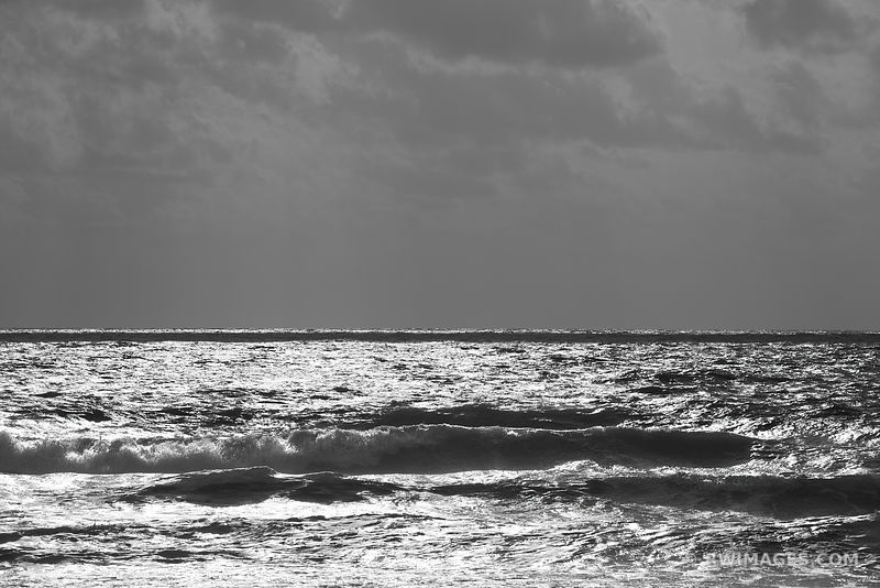 ATLANTIC OCEAN WAVES ASSATEAGUE NATIONAL SEASHORE MARYLAND BLACK AND WHITE