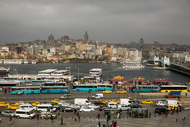 Buses and a ferry terminal around  the Golden Horn in Eminonu area of Istanbul.