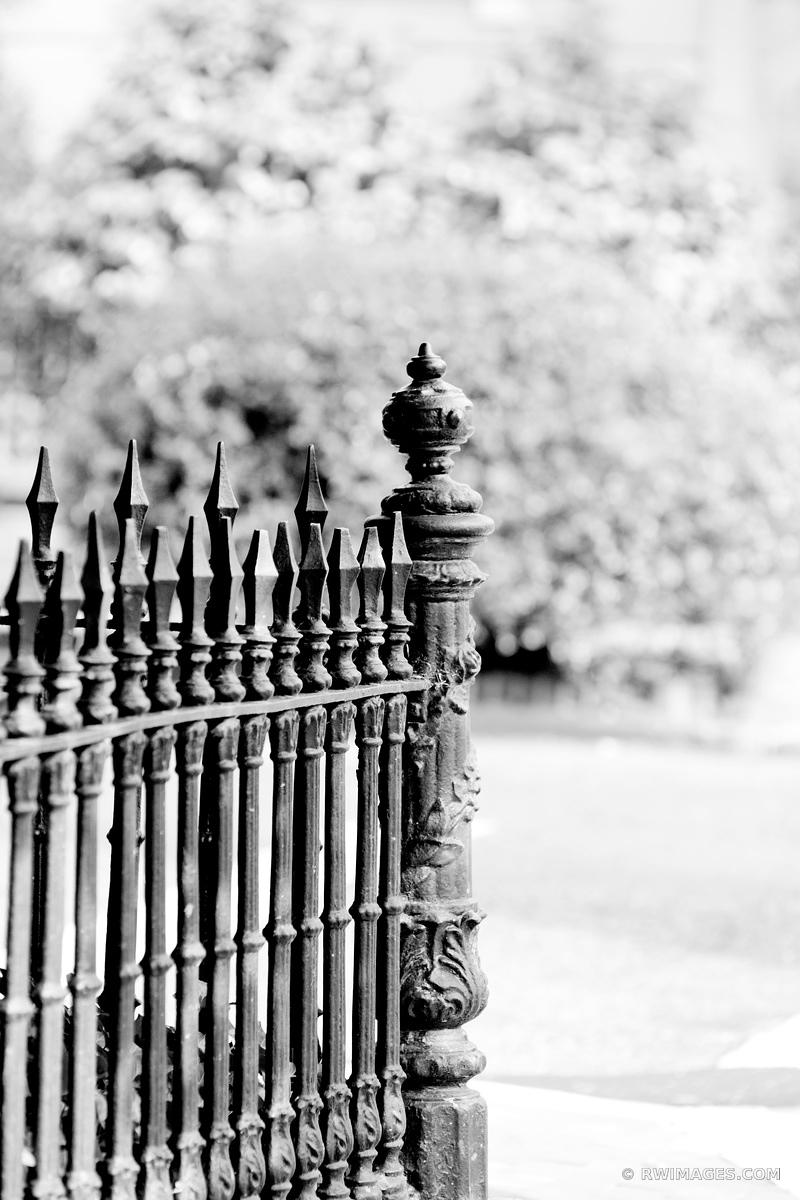 OLD IRON FENCE GEORGETOWN WASHINGTON DC BLACK AND WHITE