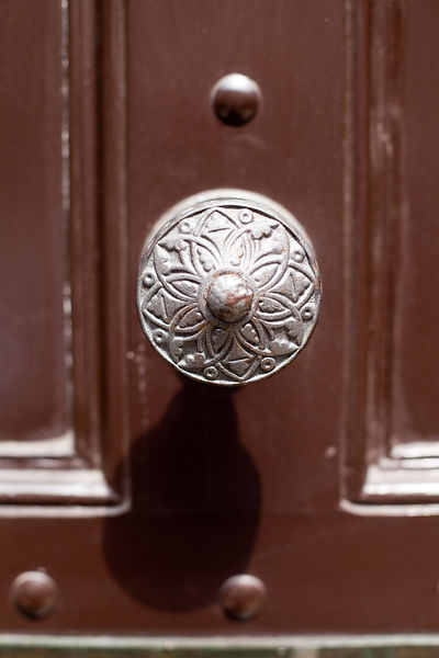 UK - London - Detail of door knob of a restored Georgian House. Spitalfields