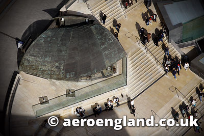 aerial photograph of the spiral cafe in Birmingham's Bull Ring Shopping Centre