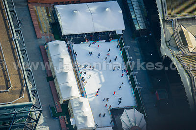 Aerial view of ice rink in Exchange Square, London