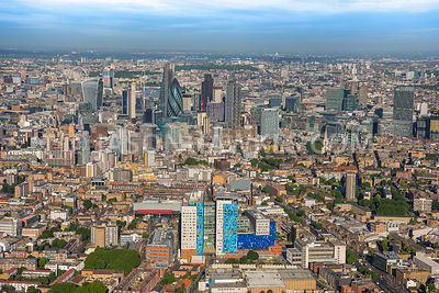 Aerial view of London, Royal London Hospital with City of London skyline.