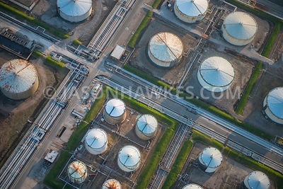 Close-up aerial view of Stanlow Refinery, an oil refinery in Ellesmere Port