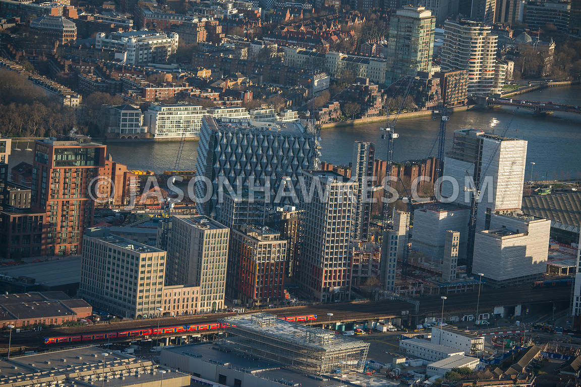 Aerial view of London, Nine Elms redevelopment with River Thames.