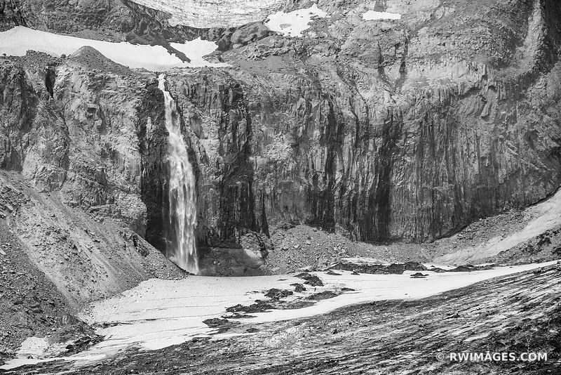 GLACIAL WATERFALL MOUNT RAINIER NATIONAL PARK WASHINGTON BLACK AND WHITE