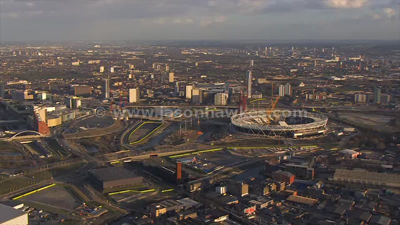 Aerial footage of the Queen Elizabeth Olympic Park, Stratford, London