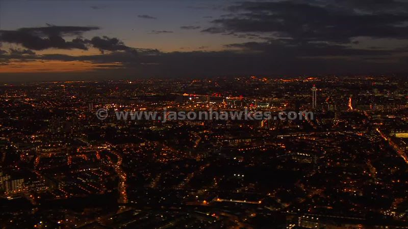 Aerial footage across Lambeth and Wandsworth at night