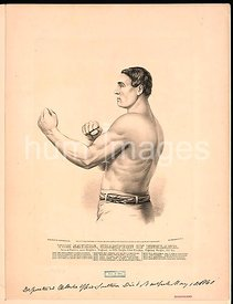 Tom Sayers, champion of England born at Pimlico, near Brighton, England, in 1826, height 5 feet 8 inches, fighting weight, 15...