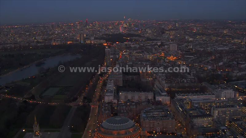 Aerial footage of Hyde Park at night, London