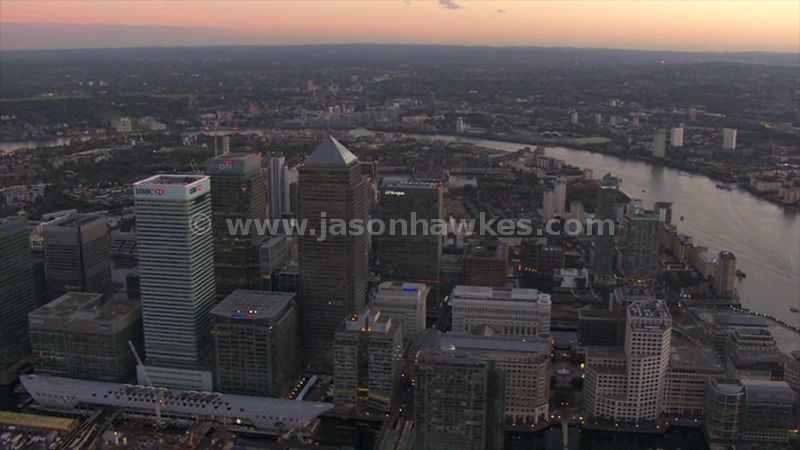 Aerial footage of the Isle of Dogs at sunset, London