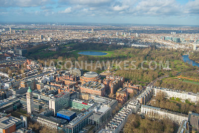 Aerial view of London, Prince's Gate Garden towards Hyde Park and Kensington Gardens with The Albert Memorial.