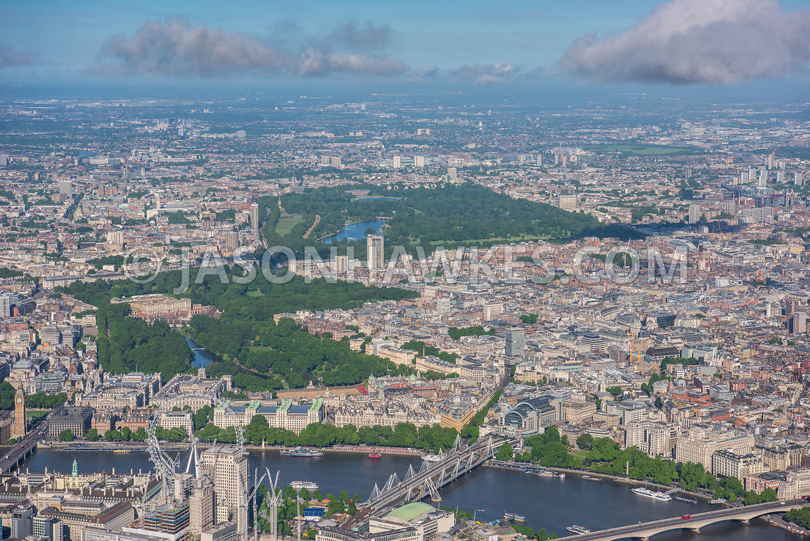 Aerial view of London St James Park , Green Park, Hyde park and St James's.