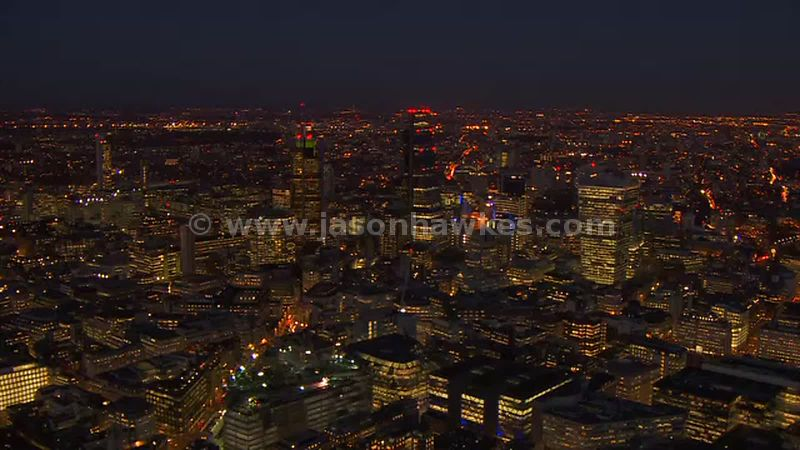 Aerial footage of the City at night, London