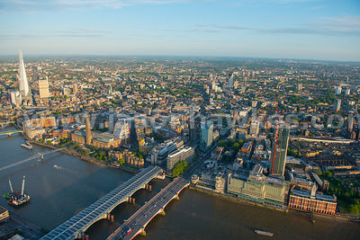 Aerial view of Blackfriars Bridge and Southwark , London. Aerial photograph