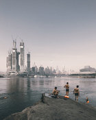 Project: Swimmers on the riverside opposite the construction of Raffles City Chongqing, China by Safdie Architects.Photograph...