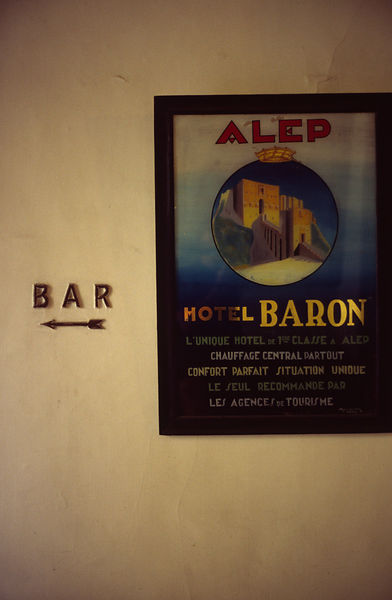 Syria - Aleppo - An historical poster in the Baron Hotel