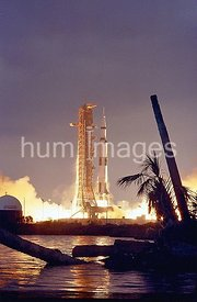 The Apollo 14 Saturn V Space Vehicle, carrying Astronauts Alan B. Shepard, Jr., Stuart A. Roosa, and Edgar D. Mitchell, lifte...