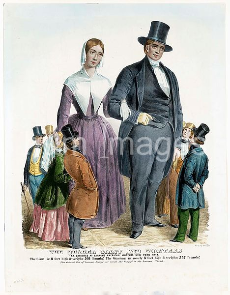 The Quaker giant and giantess as exhibited at Barnums American museum, New York 1849 - Roboert Hales and Elizabeth Simpson