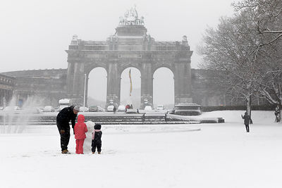 Snowy day in Cinquantenaire Parc, December 2017