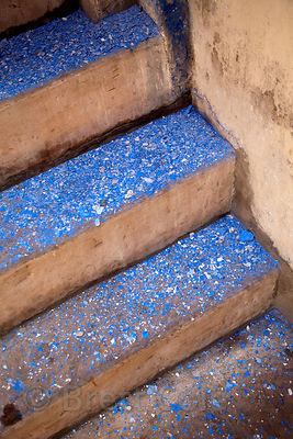 Blue paint on stairs in Jodhpur, Rajasthan, India