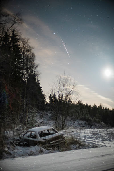 A lone Quadrantid above an abandoned car on January 4 2016.