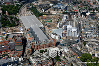 aerial photograph of St Pancras International Station, London N1C 4QL and Kings Cross Railway Station, London N1C 4AL