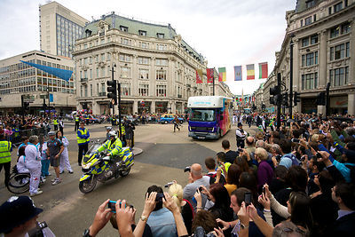 Paralympic Vehicles Approach Kissing Point at Oxford Circus