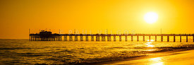 Newport Beach Pier Sunset Panoramic Photo
