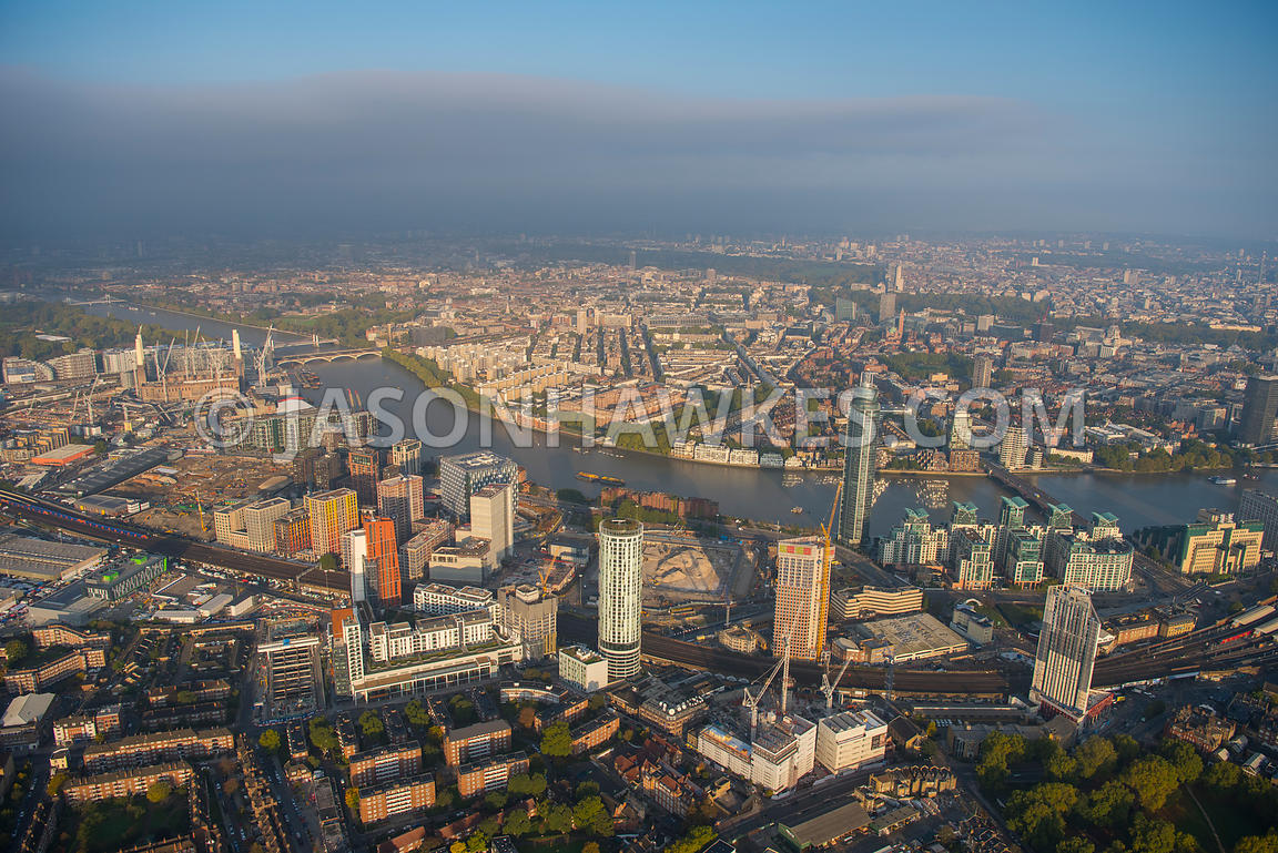 Aerial view of London,  Vauxhall, St George's Wharf with Battersea Power Station development.