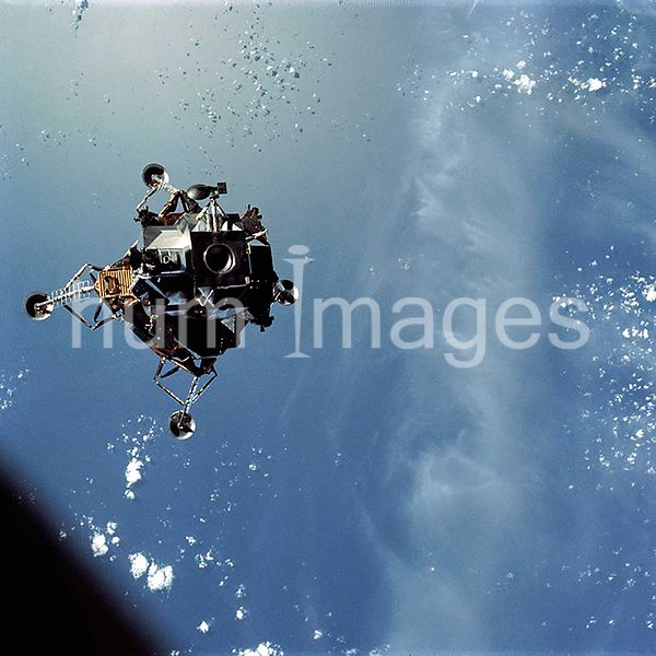 7 March 1969 - Apollo 9 Lunar Module (LM), Spider, in a lunar landing configuration, as photographed from the Command and Ser...