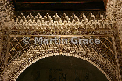 The ceiling of the Generalife West Pavilion illuminated at night, Granada, Andalusia, Spain