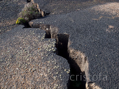 crack in volcanic rock on Lanzarote
