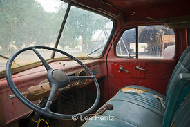 Interior of an old Dodge, circa 1948, 1 or 1.5 ton stake truck, at Fielding Garr Ranch, Antelope Island State Park in the Gre...