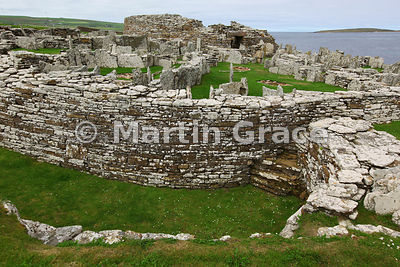 The Broch of Gurness, an Iron-Age stone defensive tower, with its surrounding village, West Mainland, Orkney