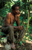 Batwa Pygmies are hunter-gatherers, Ntandi village, Semliki National Park, Uganda
