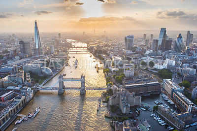 Aerial view of London, Tower Bridge at dusk