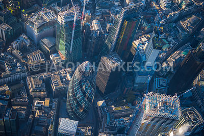 Aerial view of London, construction of 22 Bishopsgate, 100 Bishopsgate and The Scalpel.